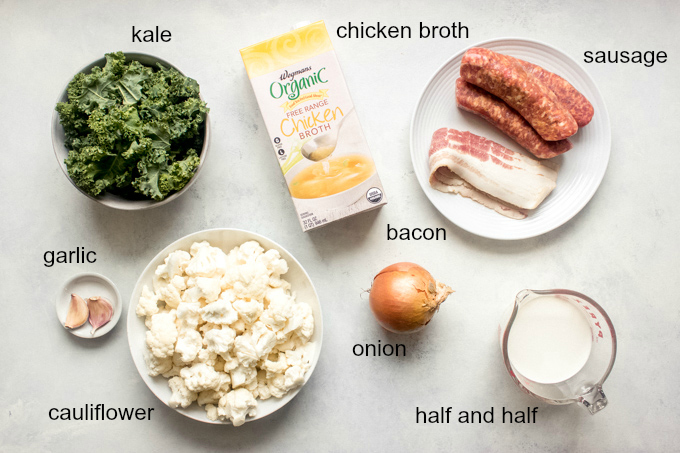 ingredients for cauliflower kale soup
