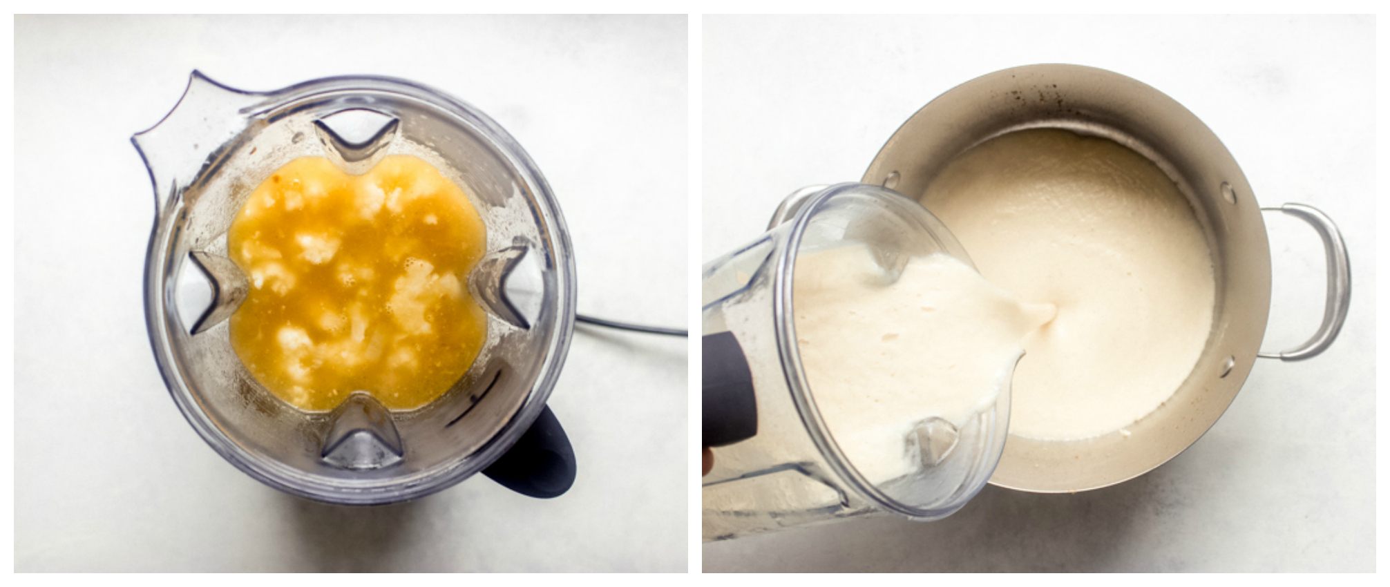 pureed cauliflower soup in a blender