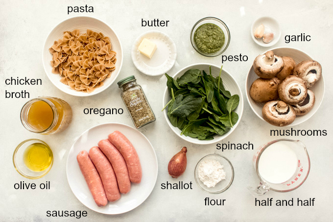 ingredients for chicken mushroom pasta recipe