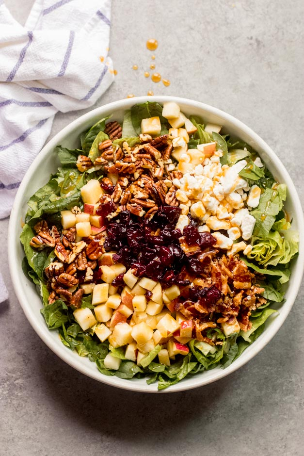 overhead spinach apple salad