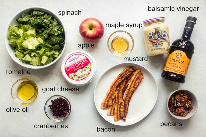 ingredients for apple spinach salad recipe