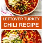 turkey chili in white bowl