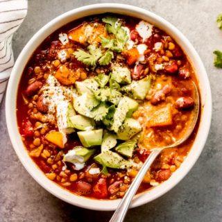 lentil butternut squash chili recipe in a bowl