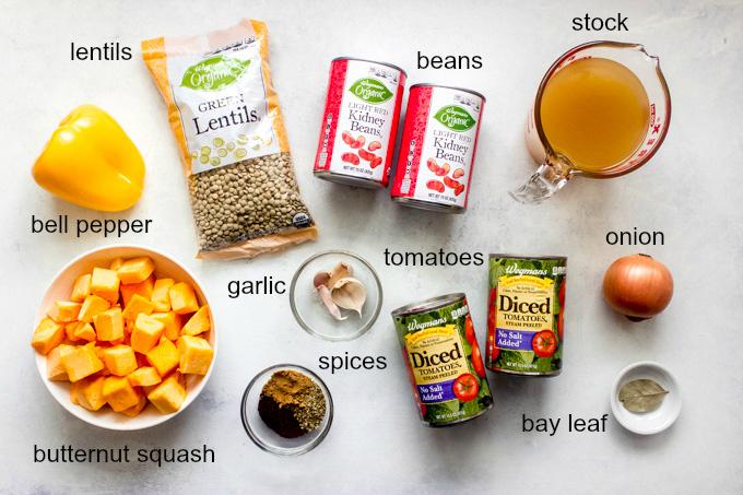 ingredients for butternut squash lentil chili
