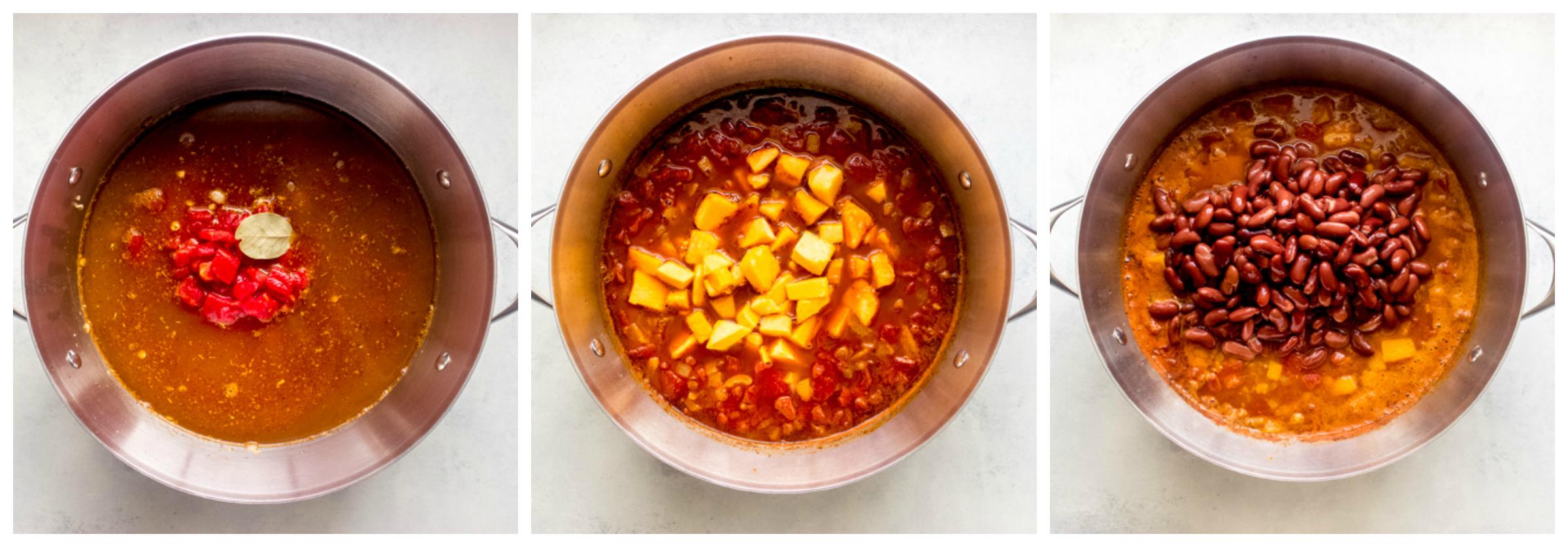 lentil chili with butternut squash in a dutch oven