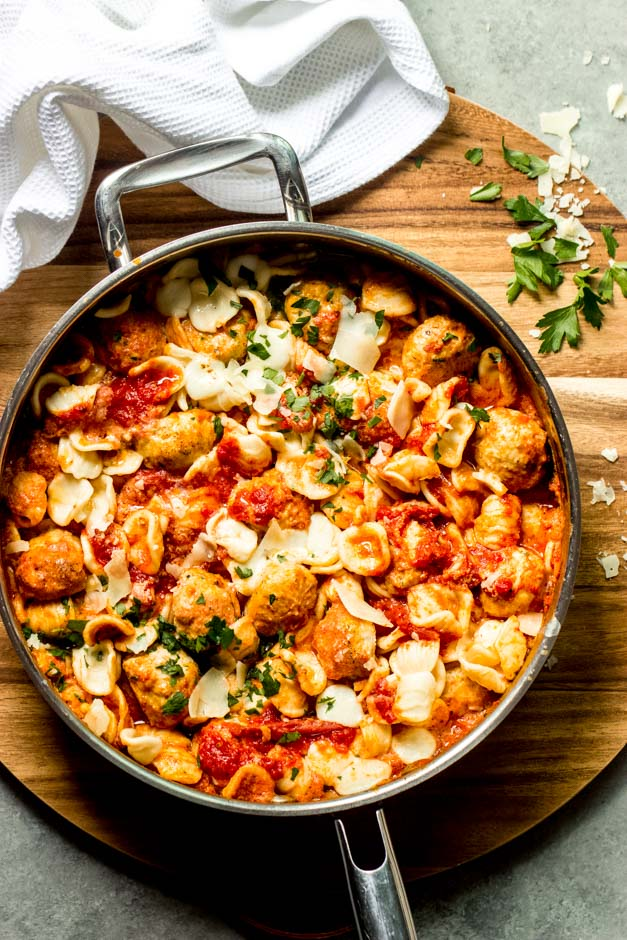 overhead baked mini meatballs with pasta