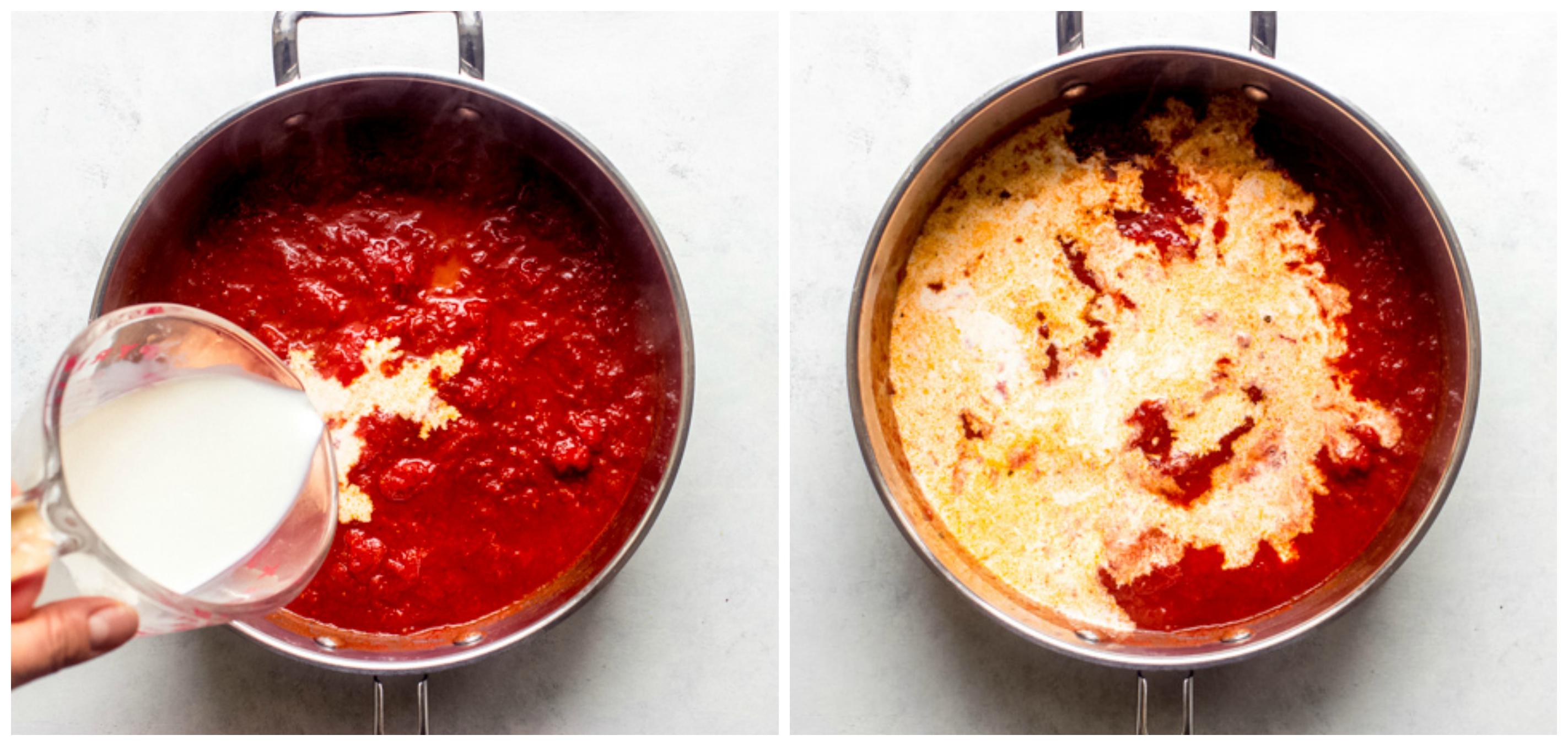 tomato cream sauce in skillet