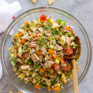 overhead greek tuna salad in bowl