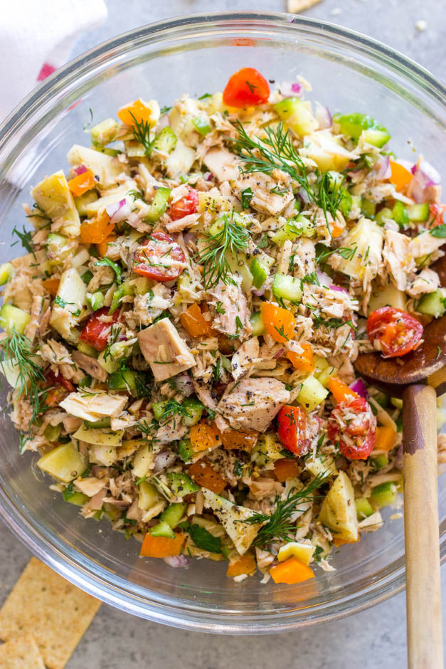close up mediterranean tuna salad recipe