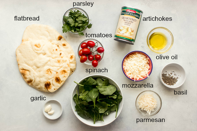 ingredients for spinach flatbread