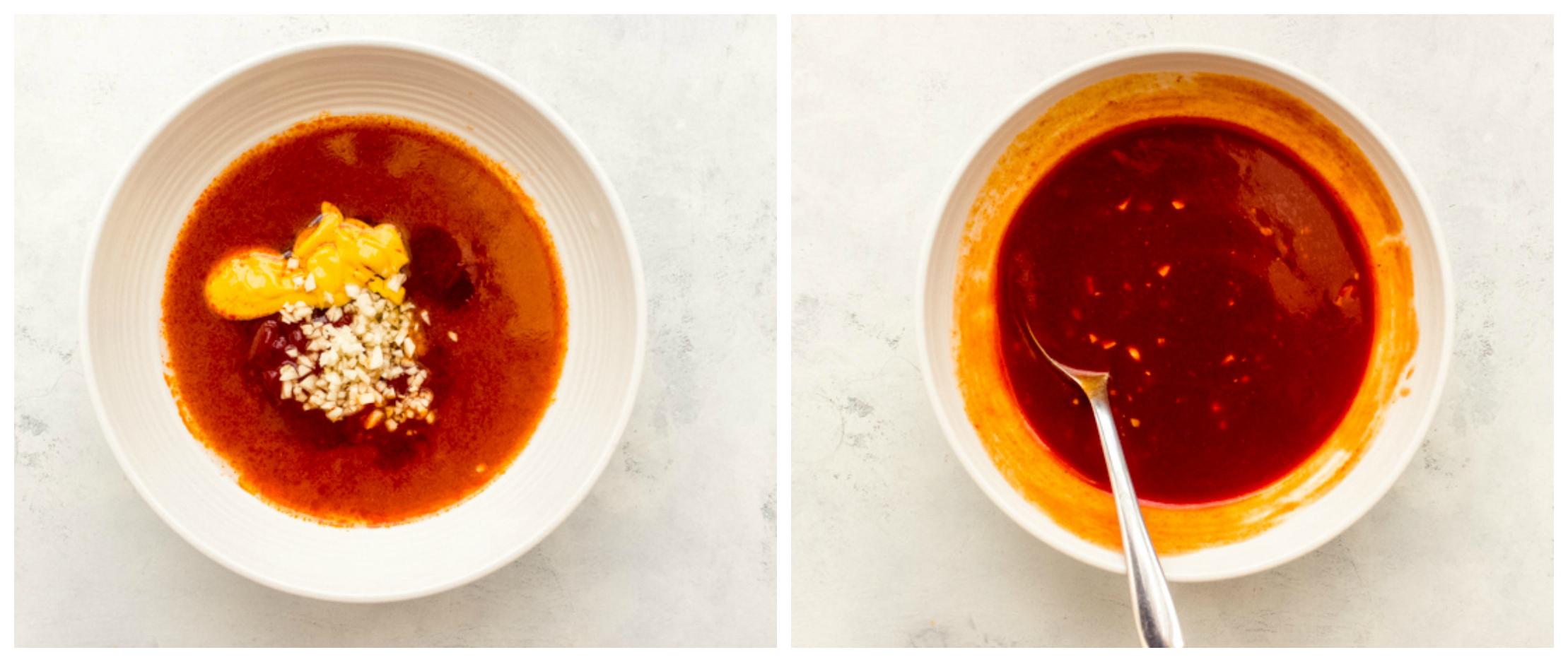 buffalo sauce in a white bowl