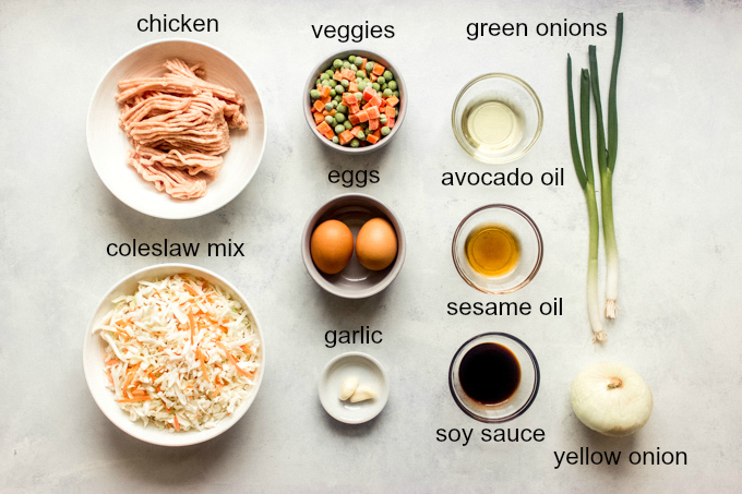 ingredients for chicken and cabbage stir fry