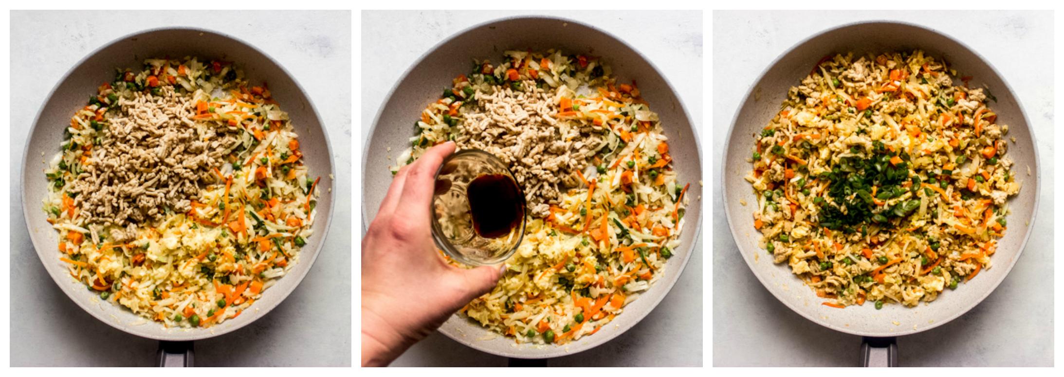 chicken and cabbage stir fry skillet