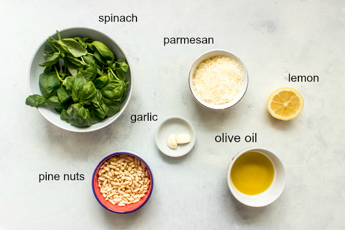 ingredients for basil pesto recipe