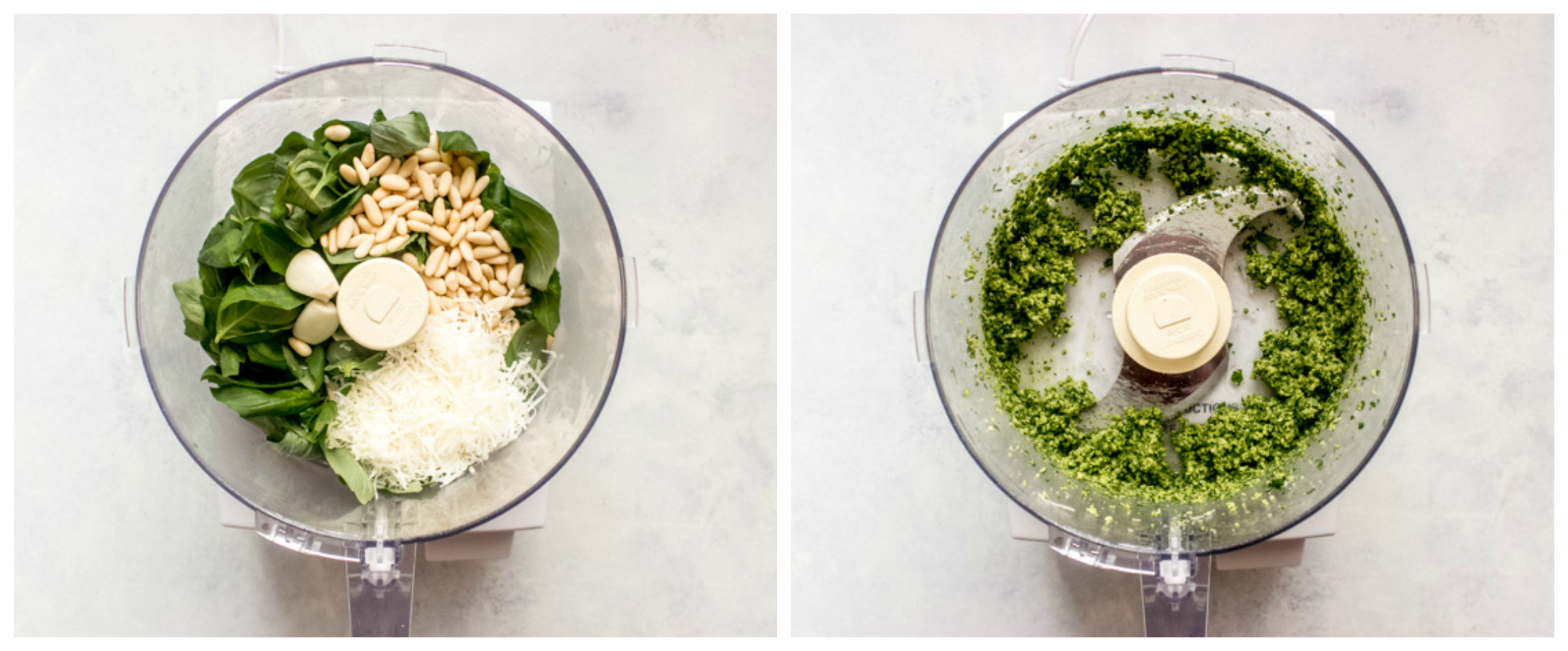 fresh basil with parmesan in food processor