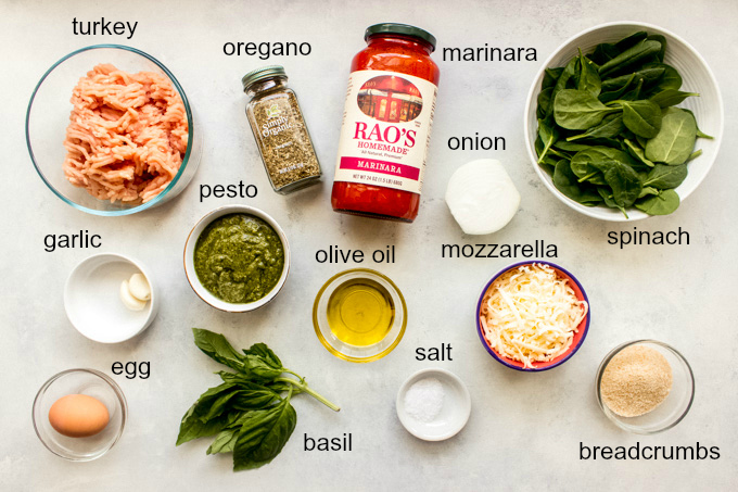 ingredients for turkey pesto meatballs