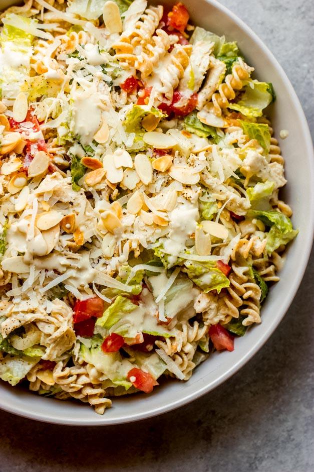 close up caesar pasta salad with chicken