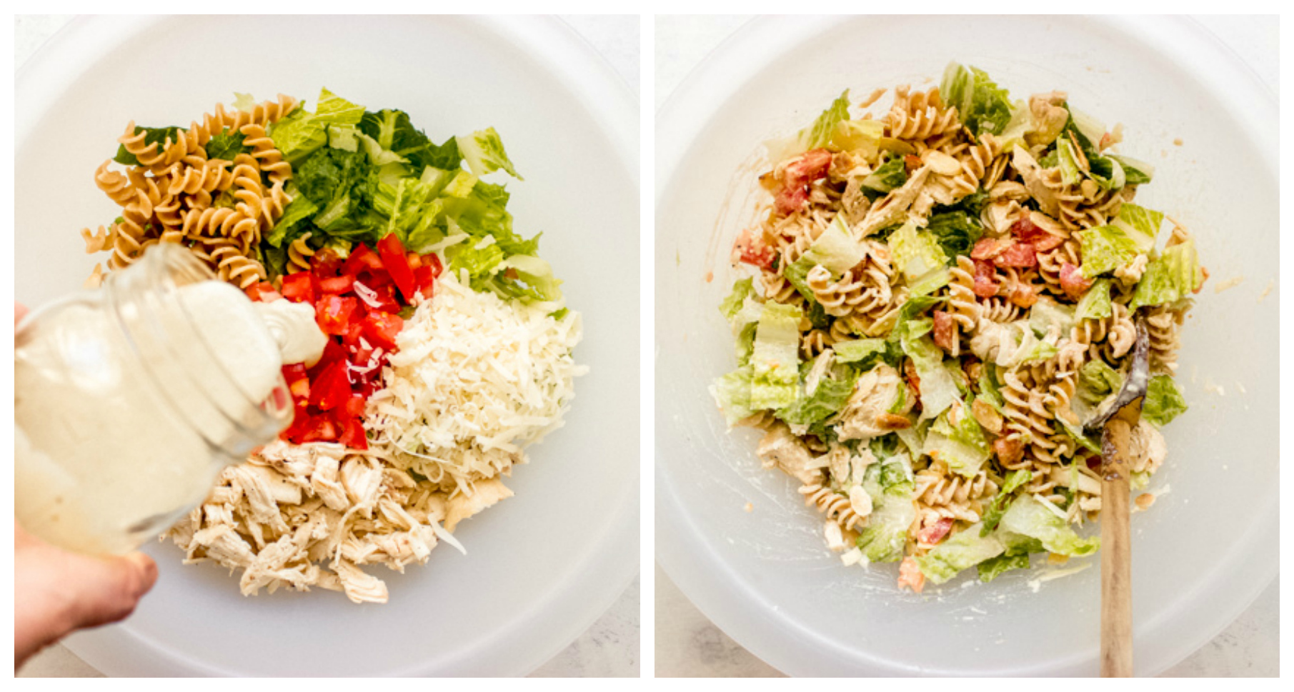 step by step on how to make chicken caesar pasta salad recipe