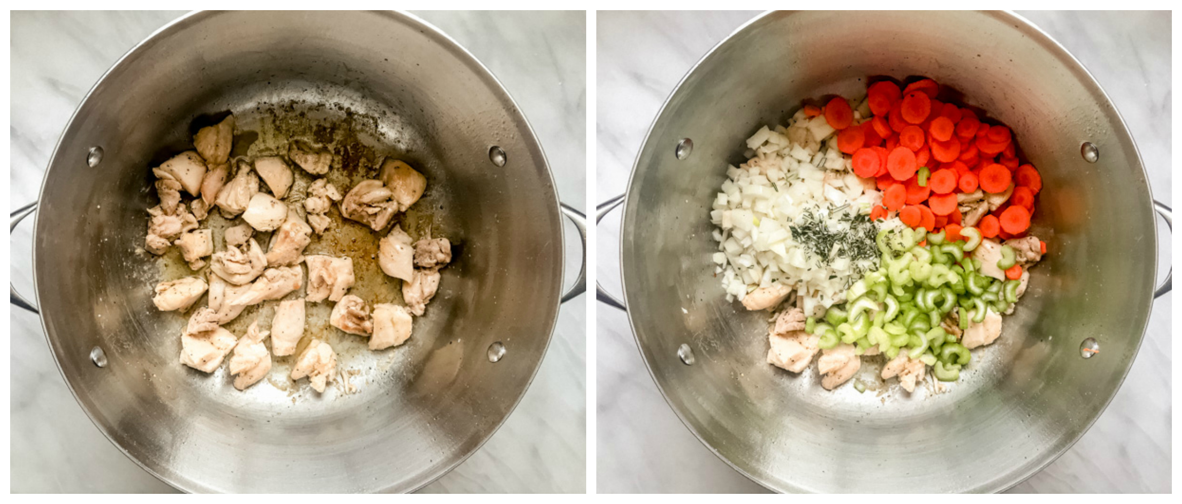 cooked chicken and veggies in soup pot