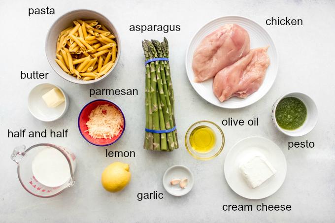 ingredients for lemon asparagus chicken pasta