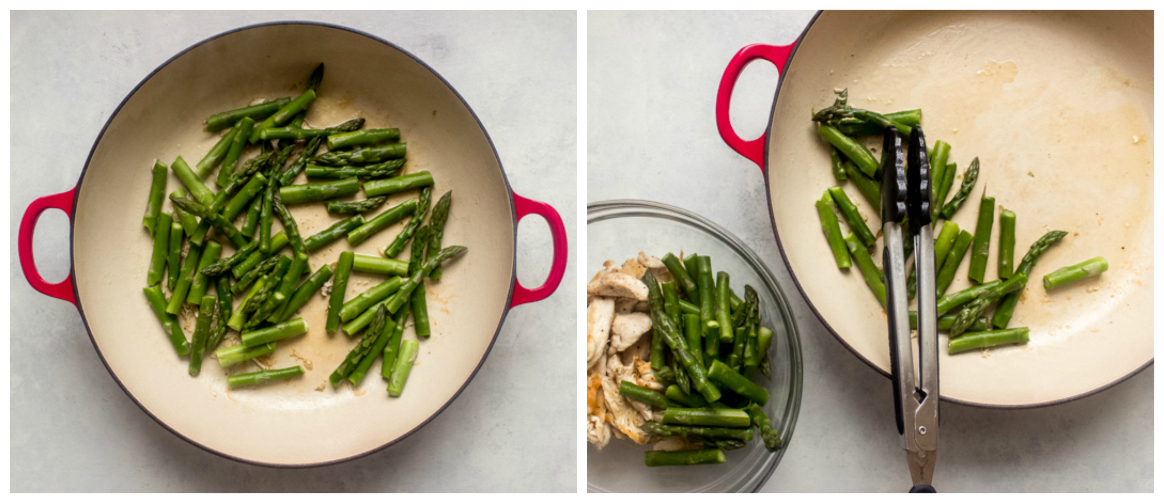 cooked asparagus in saute pan