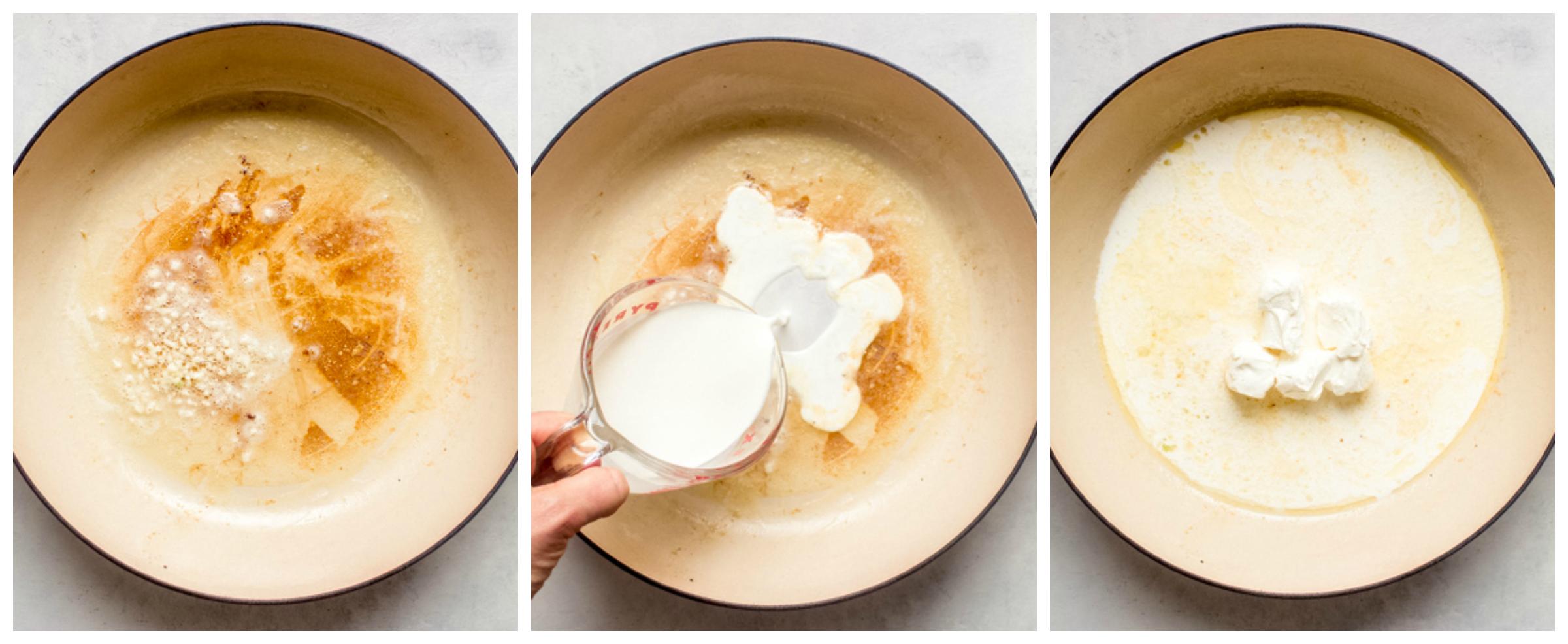 cream sauce in saute pan
