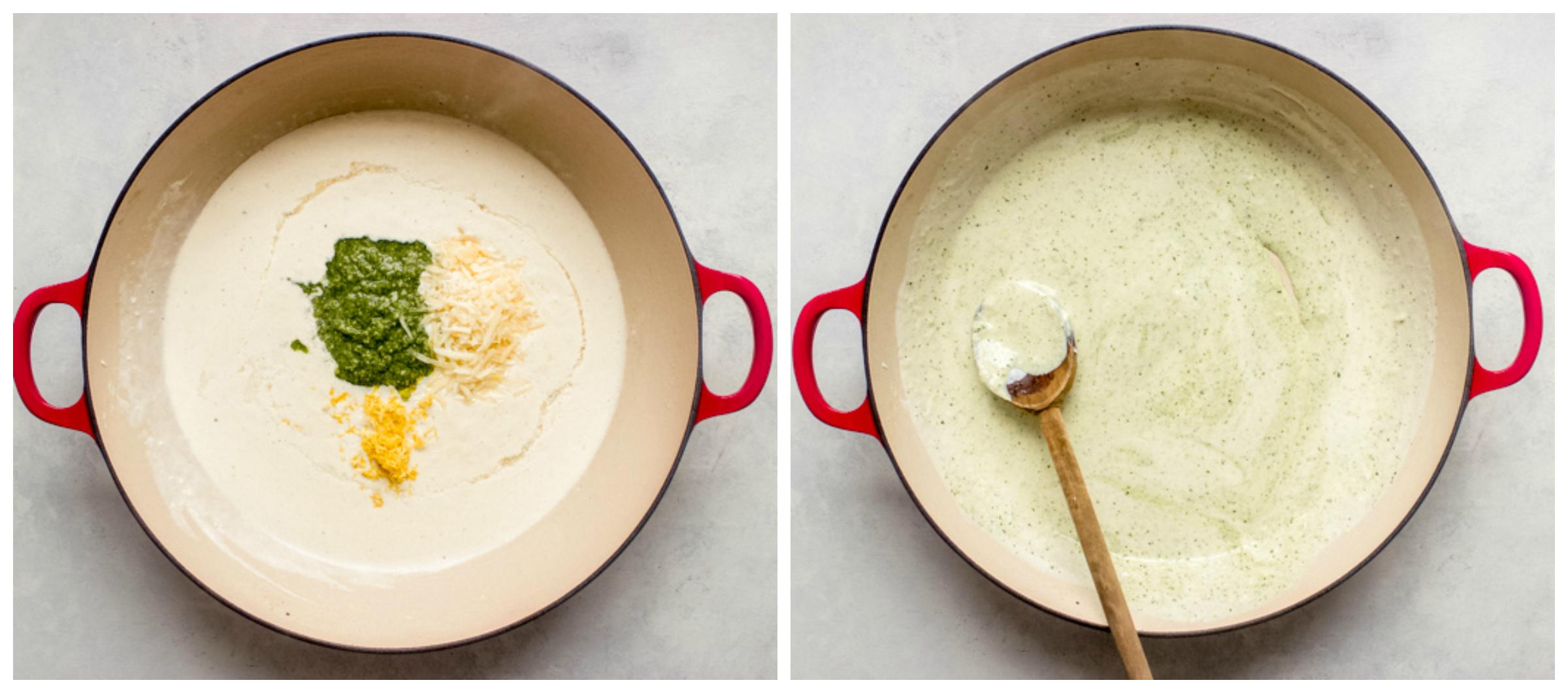 basil cream sauce in saute pan