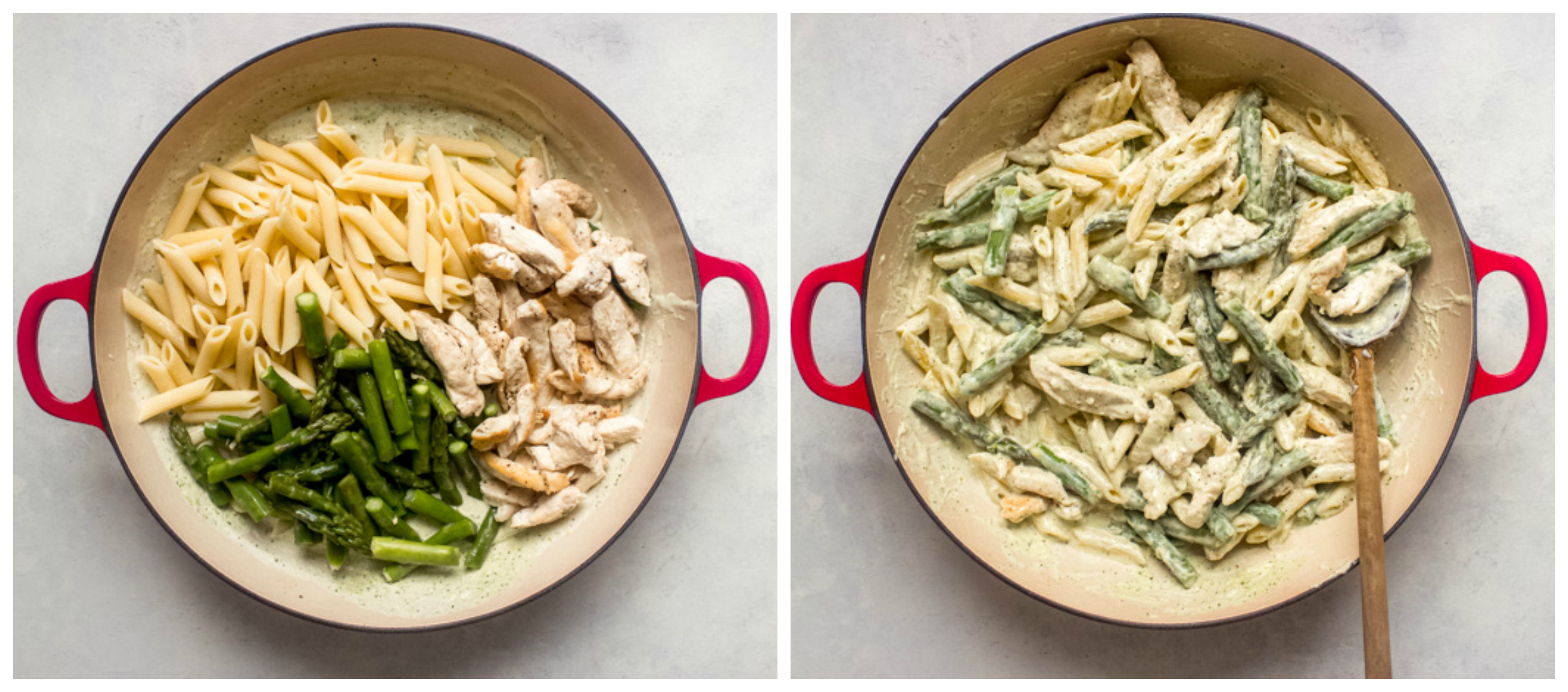 chicken and pasta in basil cream sauce