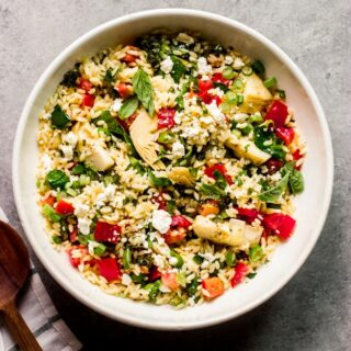 overhead orzo spinach salad recipe