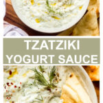 tzatziki yogurt sauce in a white bowl