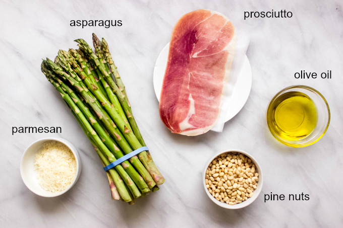 ingredients for oven roasted asparagus with parmesan