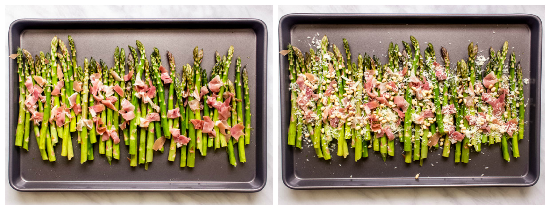 asparagus with parmesan cheese on baking sheet