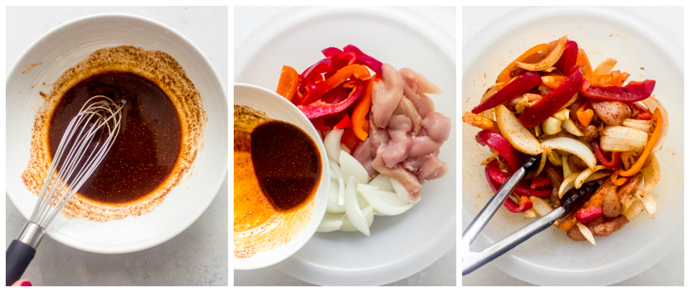 onions, bell peppers, chicken in a bowl
