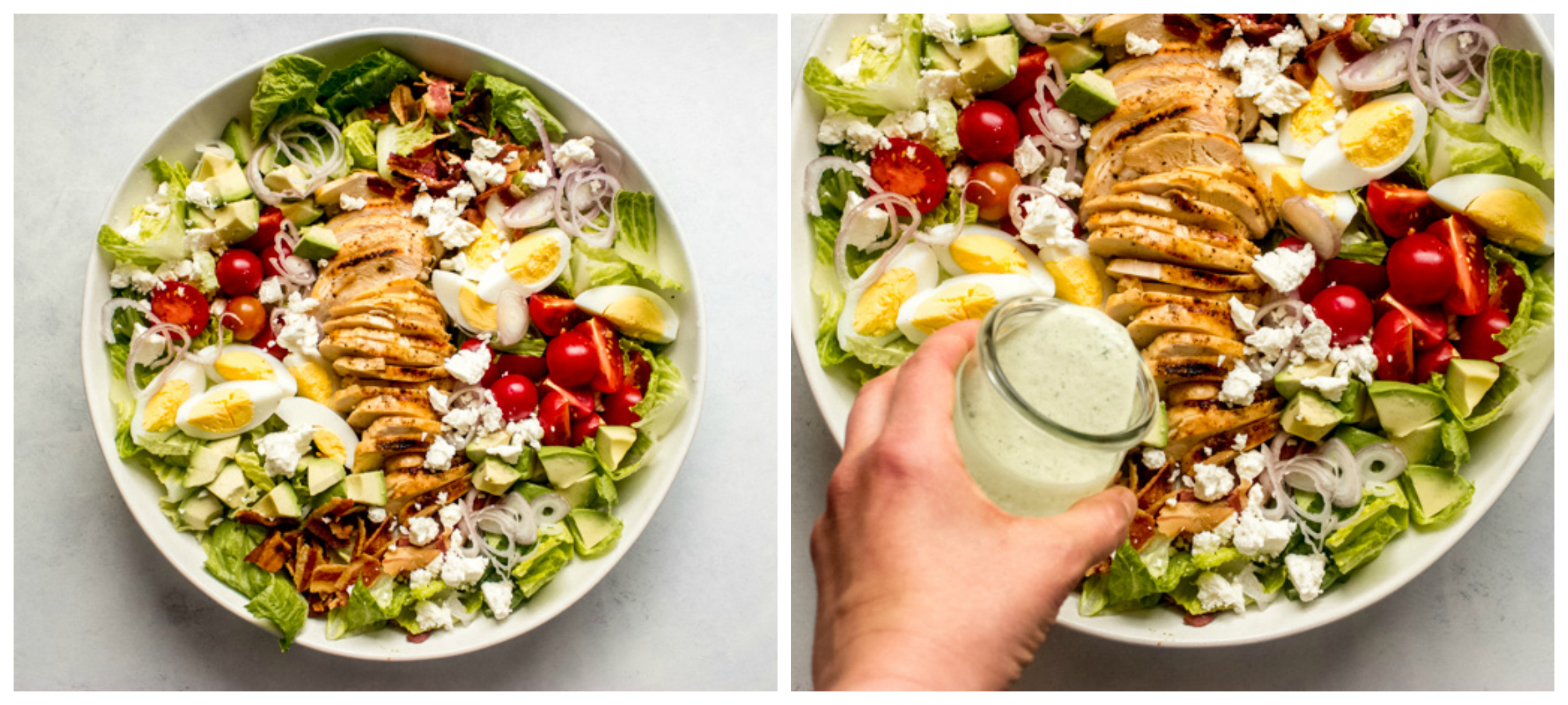 cobb salad with chicken in white bowl