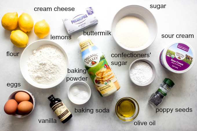 ingredients for lemon poppy cake