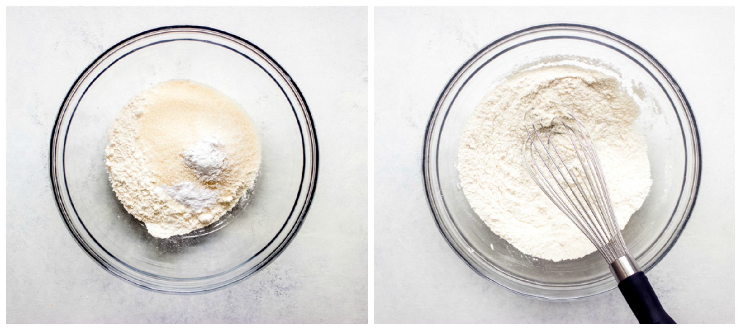 dry flour ingredients in a bowl