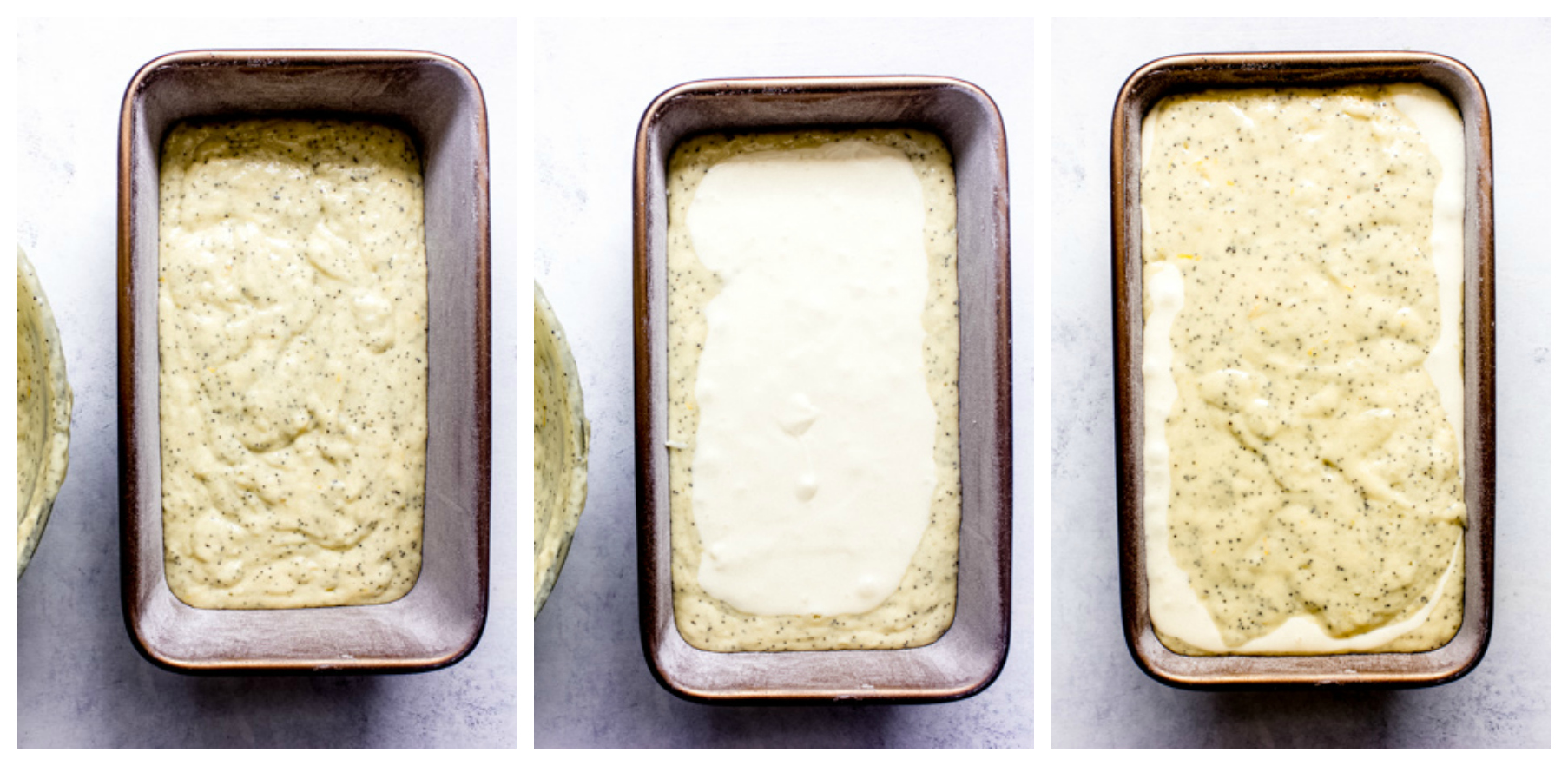 lemon poppy seed loaf cake batter in a pan