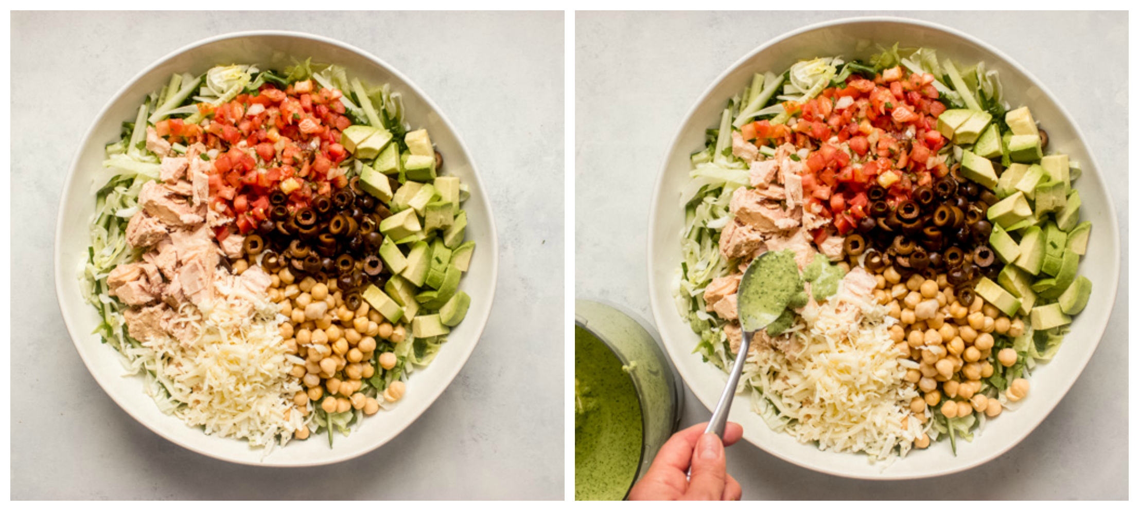 mexican chopped salad in white salad bowl