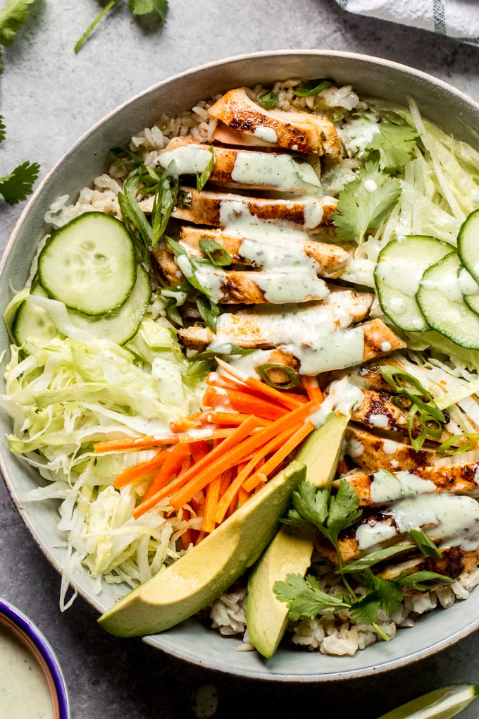 close up chicken bowl with cilantro lime dressing