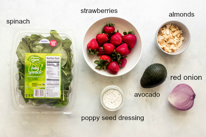 ingredients for strawberry and avocado salad