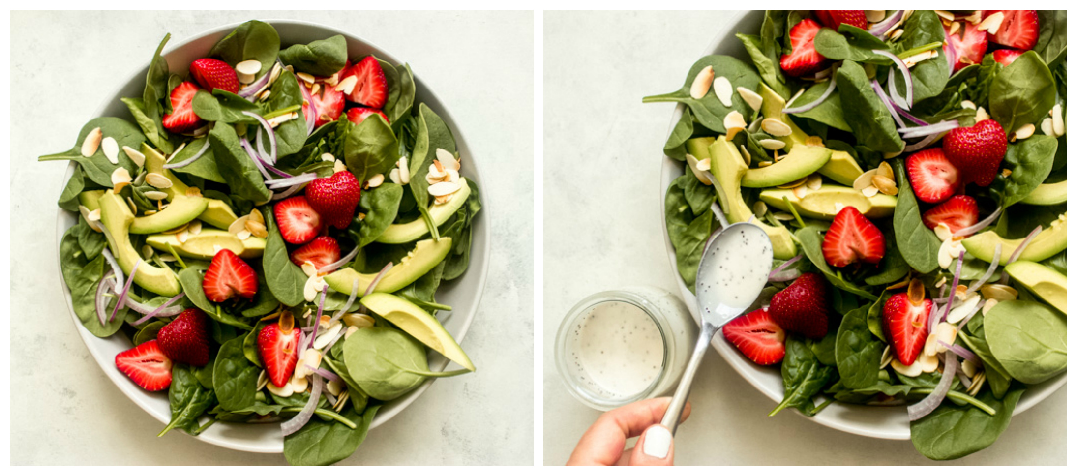 strawberry avocado spinach salad in white bowl