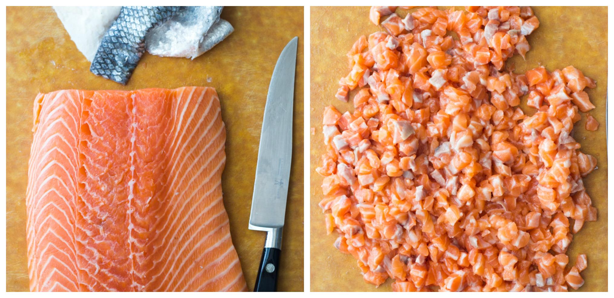 chopped up salmon on cutting board