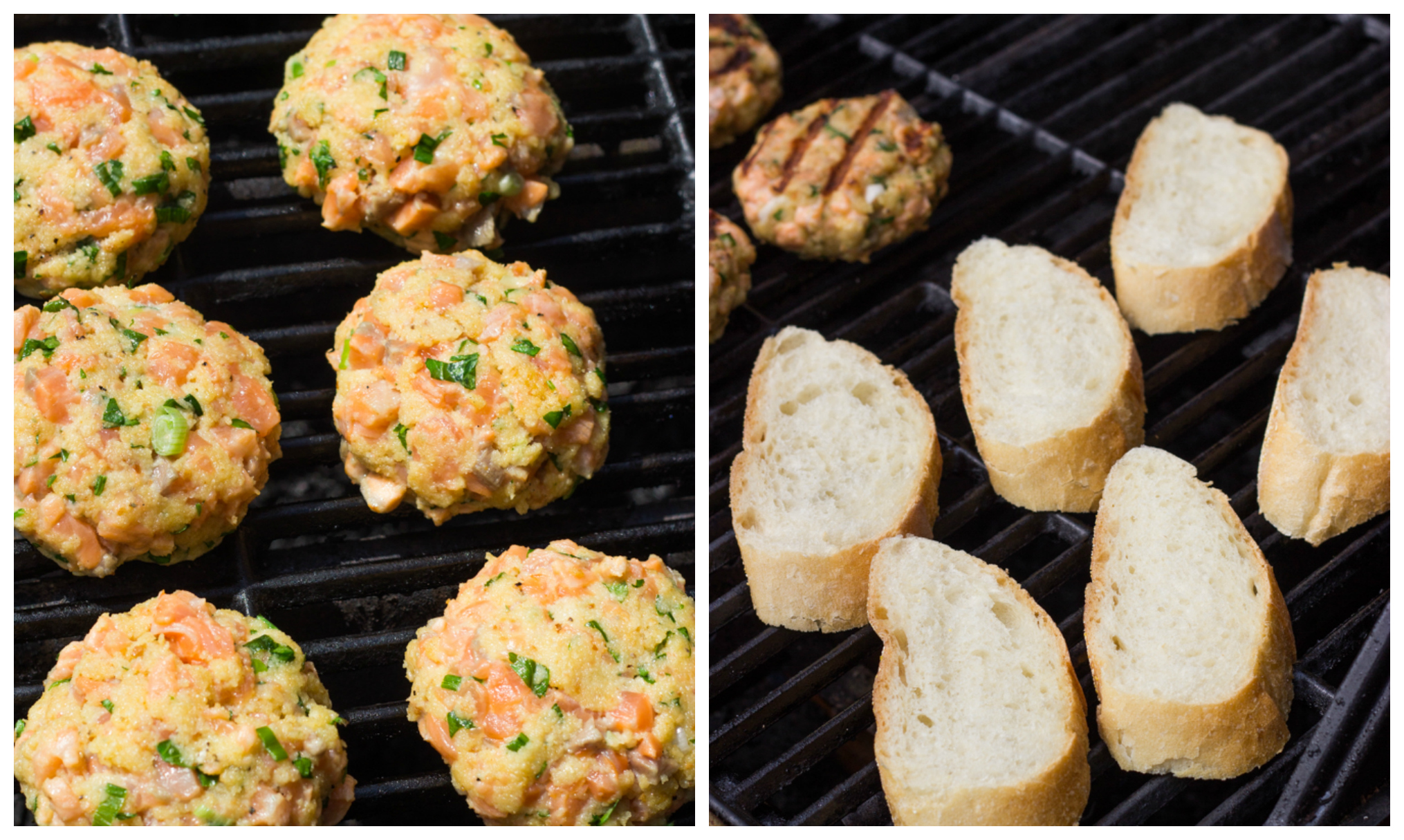 grilled salmon burgers on a grill