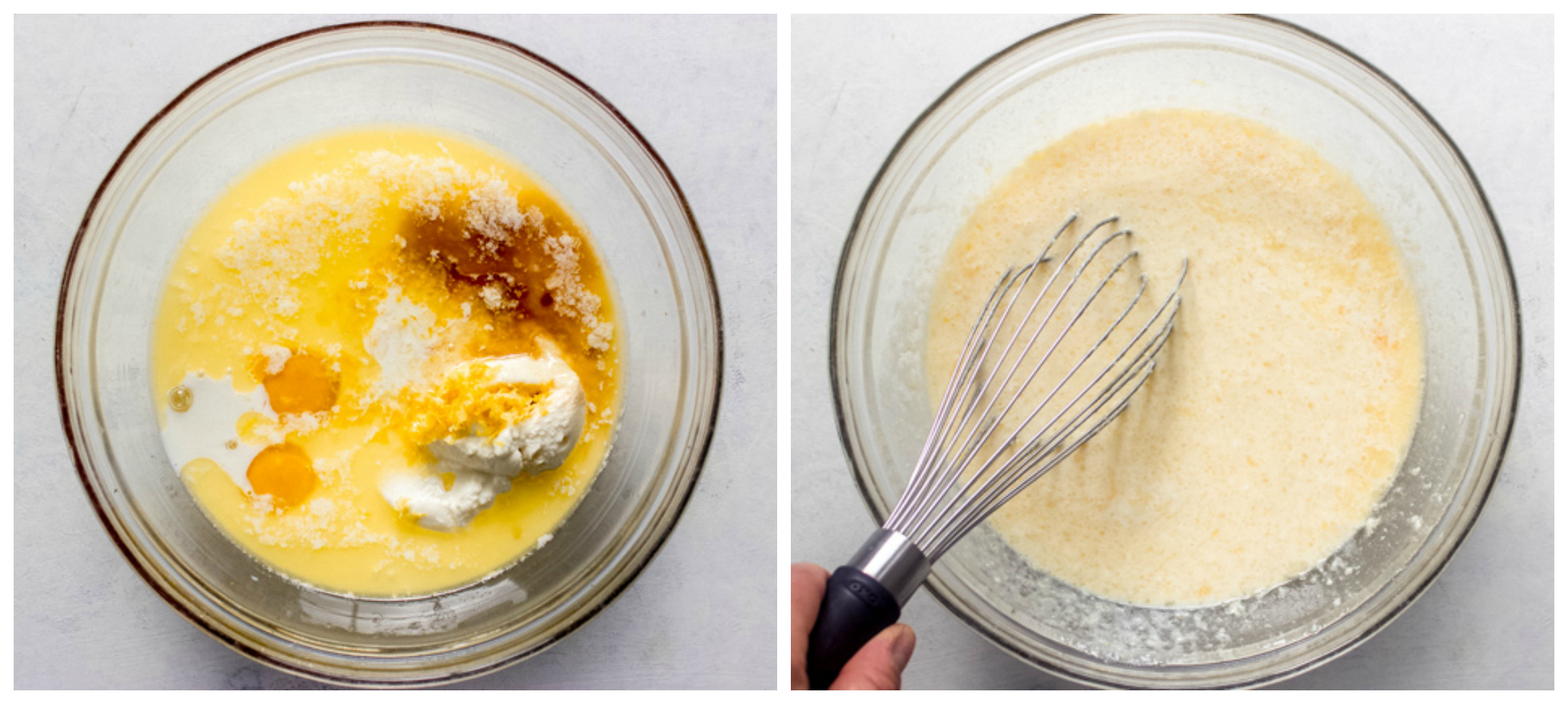 wet ingredients for ricotta pancakes