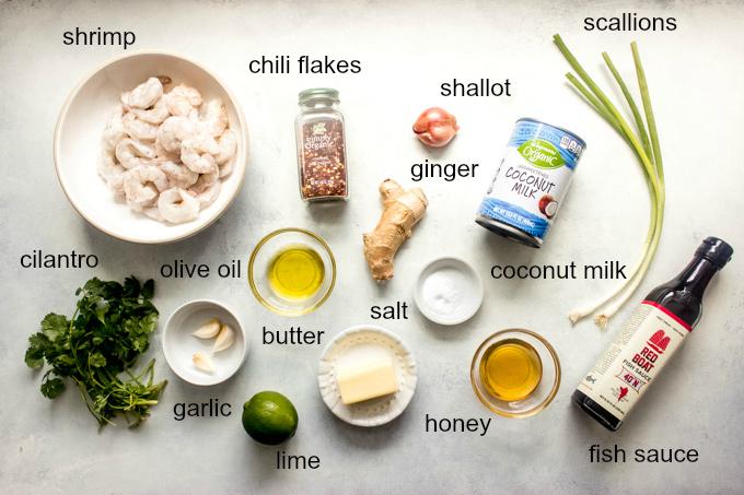ingredients for coconut milk shrimp