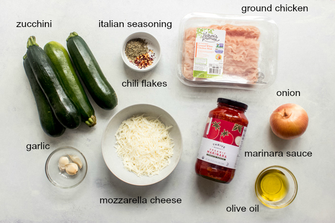 ingredients for chicken stuffed zucchini boats