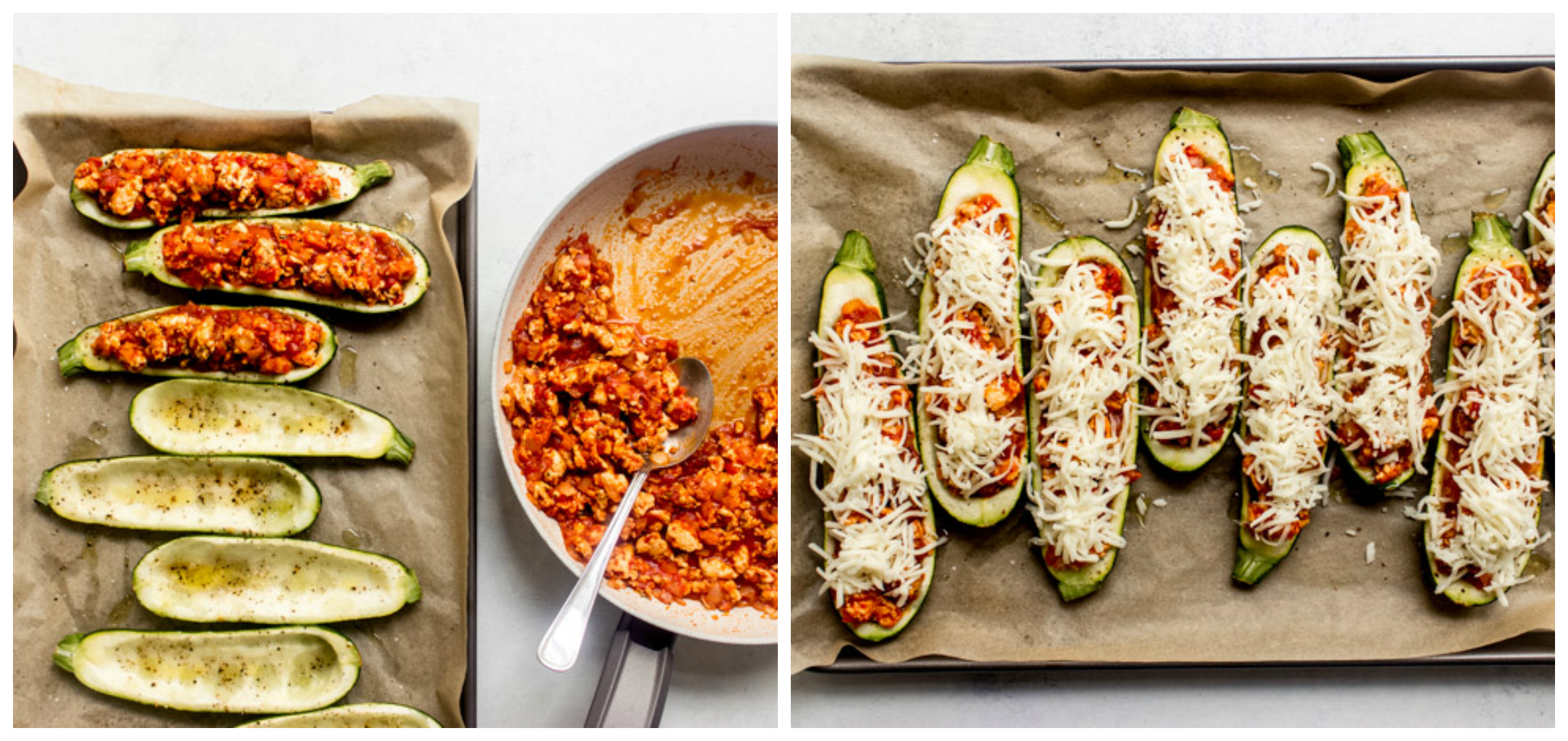 stuffed zucchini boats on a sheet pan