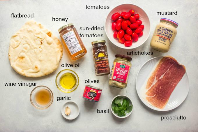 ingredients for mediterranean flatbread