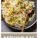 mexican white rice in skillet