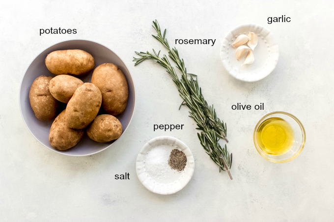 ingredients for roasted potatoes with garlic and rosemary
